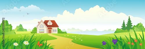 Poster Turquoise Summer house banner