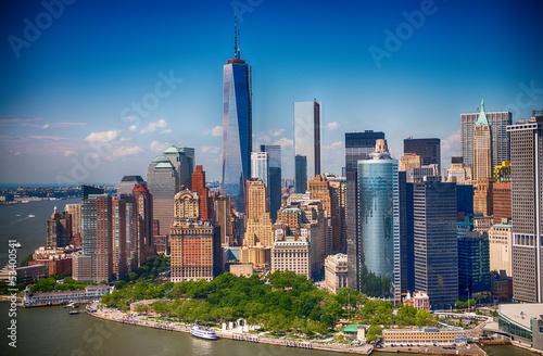Poster New York New York. Stunning helicopter view of lower Manhattan Skyline on