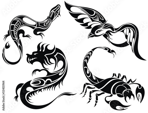 Line Art Animals Tattoo : Tattoo design of animals buy this stock vector and explore