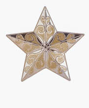 Gold Patterned Star On White Background