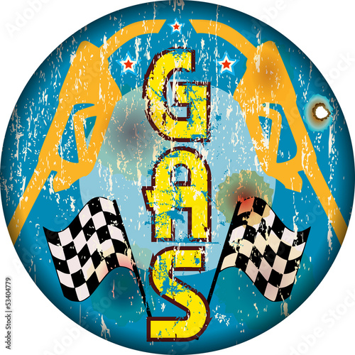 vintage gas station sign, worn and weatherd