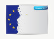 Stitched European Union flag with grunge paper frame for your te
