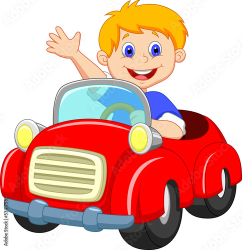 Keuken foto achterwand Cartoon cars boy in the red car