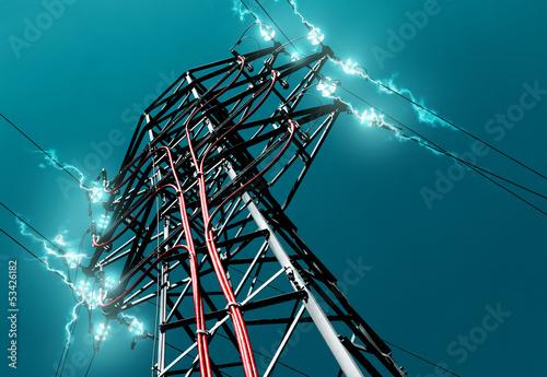 Fotografie, Obraz  torre de alta tensión.Concepto de energia electrica