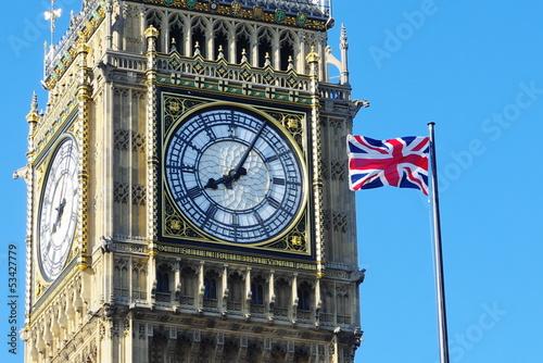 Fotografía  Big Ben And Flag Of The United Kingdom, London