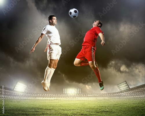 Printed kitchen splashbacks Soccer ball Two football player