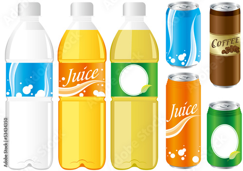 Obraz na plátně  drinks juice cans pet bottle Set Vector