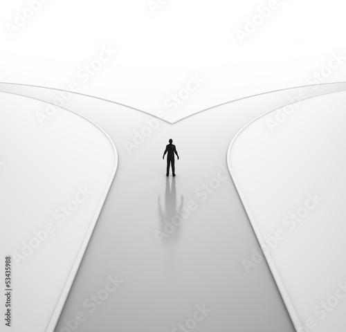 Obraz na plátně Lonely man on a crossroad