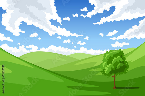Foto op Canvas Pool Summer landscape. Vector illustration.