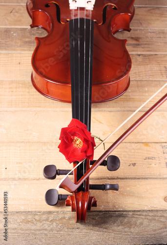 Deurstickers Fiets violin y rosa