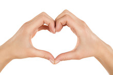 Close Up Of Female Hands Making Heart Shape