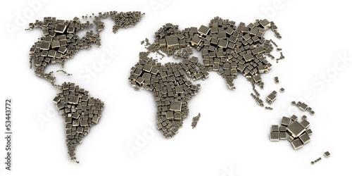3d mapa świata wykonana z bloków