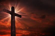 Crucifix In Sunset