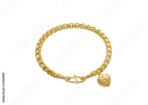 The attractive golden bracelet with a heart shape pendant Canvas Print