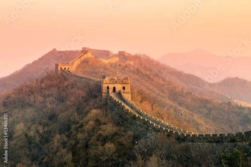 Canvas Prints Cappuccino Great Wall sunset