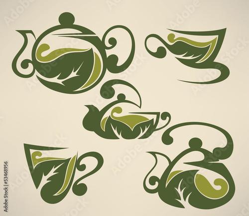 zielona-herbata-kubki-i-garnki-wektor-zbior-form-symboli-i
