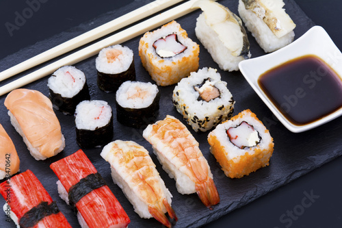 stone plate with sushi - 53470642