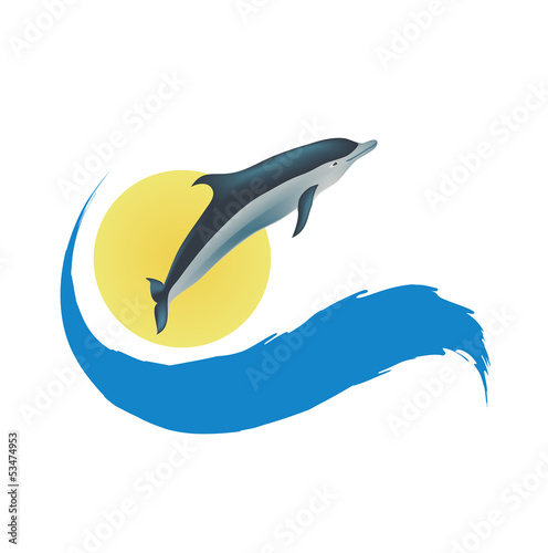 Poster Dolfijnen Dolphin vector illustration, isolated icon on white