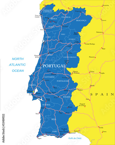 Fototapeta  Portugal map