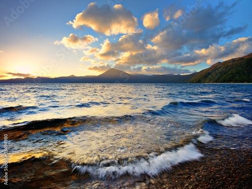 Poster Bleu nuit Sunset at Lake Shikotsu in Hokkaido, Japan