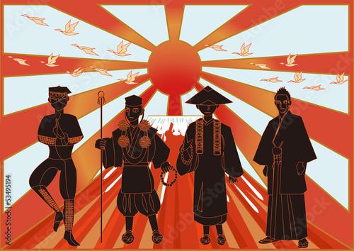 侍・忍者・僧・富士山 Ninja,monk,samurai,priest,Japanese characters Wallpaper Mural