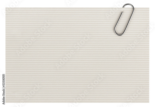Photo  business cards with paper clip isolated on white background