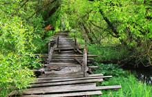 Dangerous If Broken Wooden Bridge On Foot
