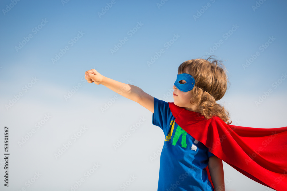 Fototapeta Superhero kid. Girl power concept
