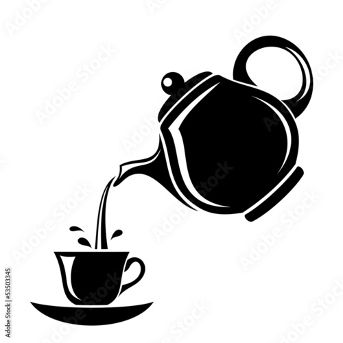 Fotomural Black silhouette of teapot and cup. Vector illustration.