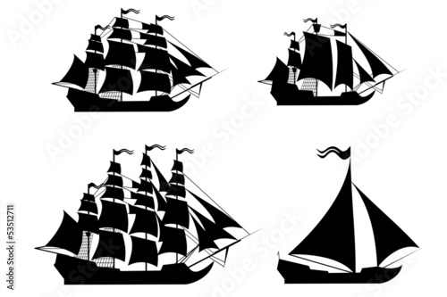 Deurstickers Schip Vector ships set with separate editable elements.