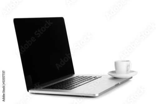 Fototapeta White laptop with cup of coffee isolated on white obraz na płótnie