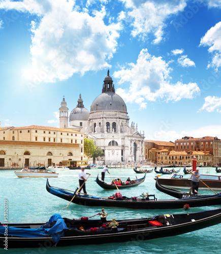 gondolas on Canal and Basilica Santa Maria della Salute, Venice, - 53520719