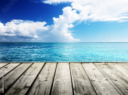 Staande foto Strand Caribbean sea and wooden platform
