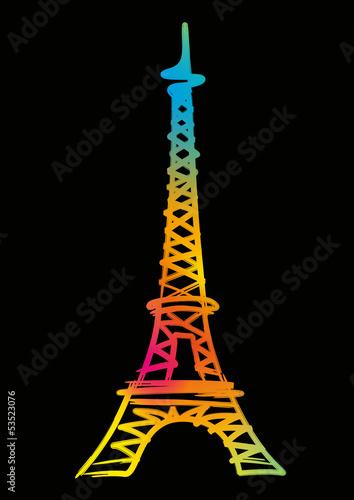 Tour Eiffel_Couleur_Fond Noir - 53523076