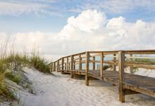 Boardwalk In The Beach Sand Dunes