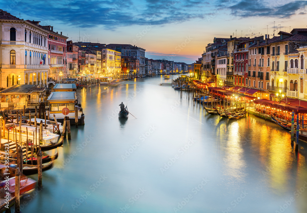 Fototapety, obrazy: Grand Canal at night, Venice