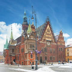 Town hall, Market Square (Rynek Glowny), Wroclaw, Poland