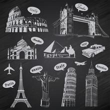 Vintage Travel Vacation Labels Set