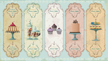 Set Of Vintage Labels With Cakes