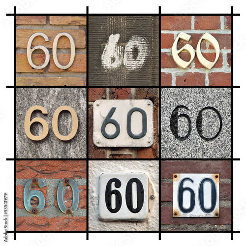 Poster  Collage of House Numbers Sixty