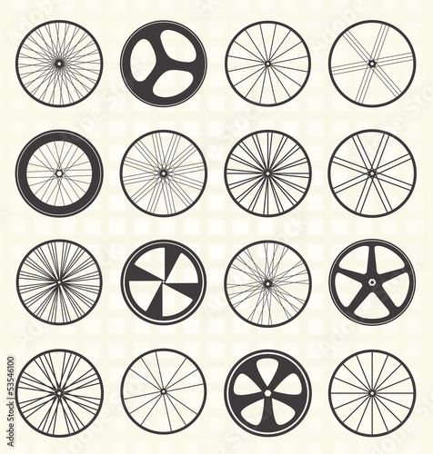 Vector Set: Bike Wheel Silhouettes Wall mural