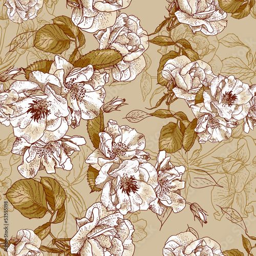 Tuinposter Abstract bloemen seamless rose pink background design pattern - Romantic style