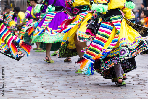 Vászonkép Peruvian dancers at the parade in Cusco.