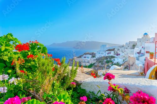 Fototapeta Greece famous Santorini island in Cyclades,view of traditional w obraz