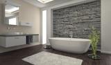 Fototapeta Kamienie - Modern Bathroom interior with stone wall