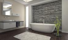 Modern Bathroom Interior With Stone Wall
