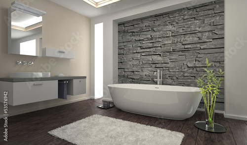 Foto  Modern Bathroom interior with stone wall