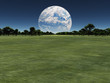 Terraformed moon over earth landscape or alien planet