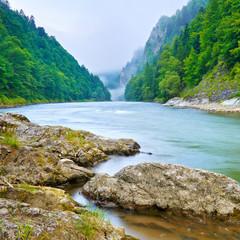 Fototapeta Optyczne powiększenie The gorge of mountain river in the morning