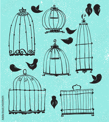 Acrylic Prints Birds in cages Set of doodle cages and little birds